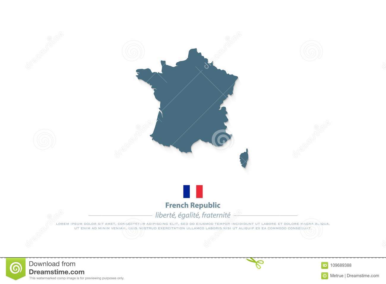 French Republic Map And Official Flag Icon France Political Map