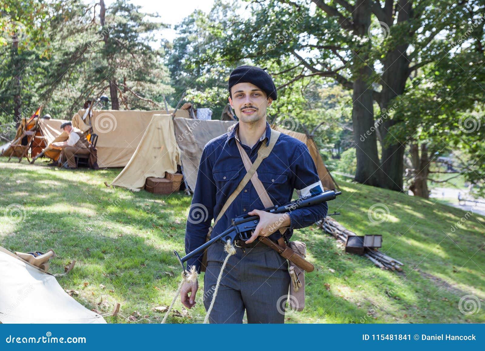 French Resistance Fighter With Vintage Sten Gun Editorial