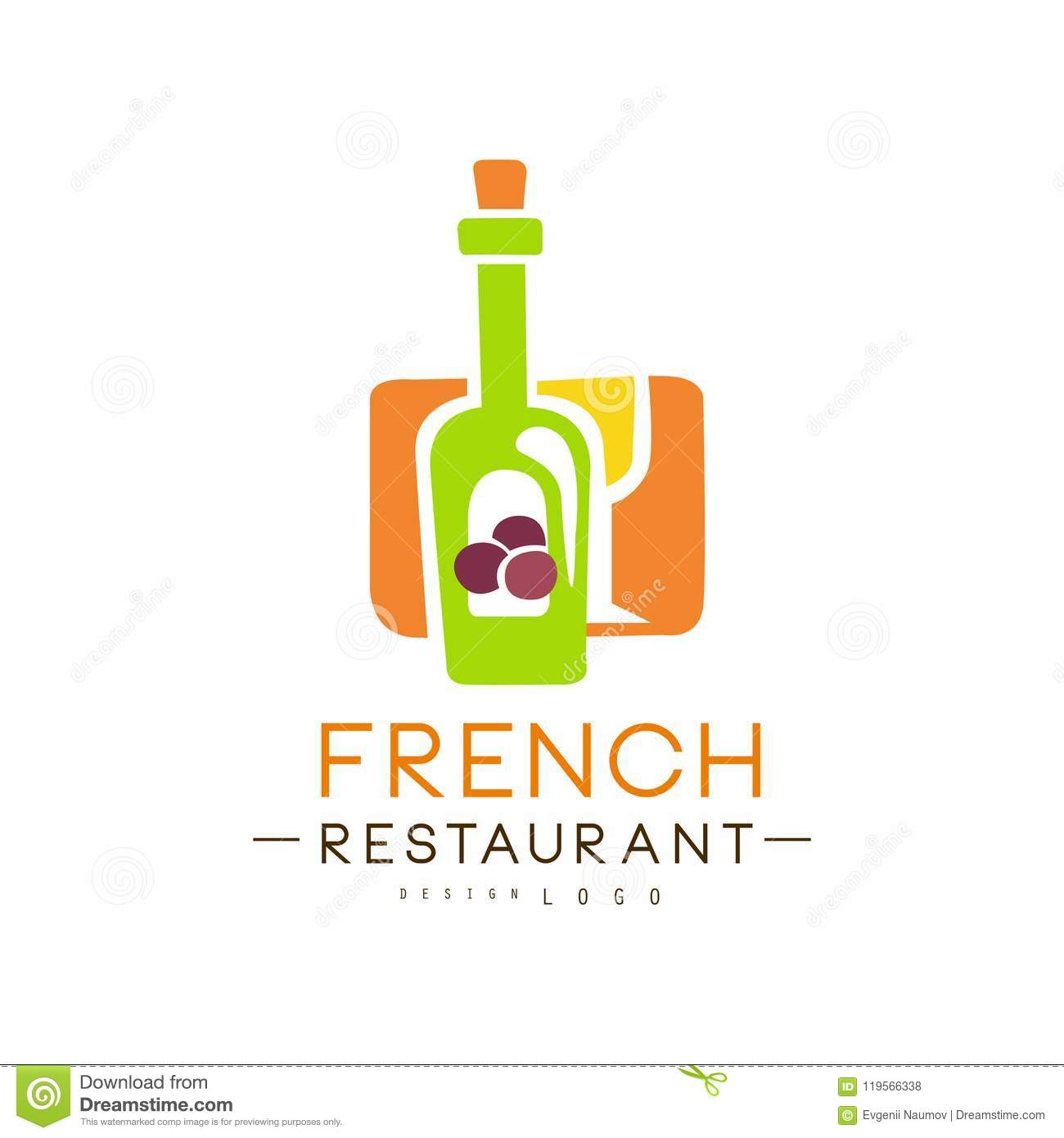 French Restaurant Logo Design Authentic Traditional Continental Food Label Vector Illustration On A White Background Stock Vector Illustration Of Cook Business 119566338