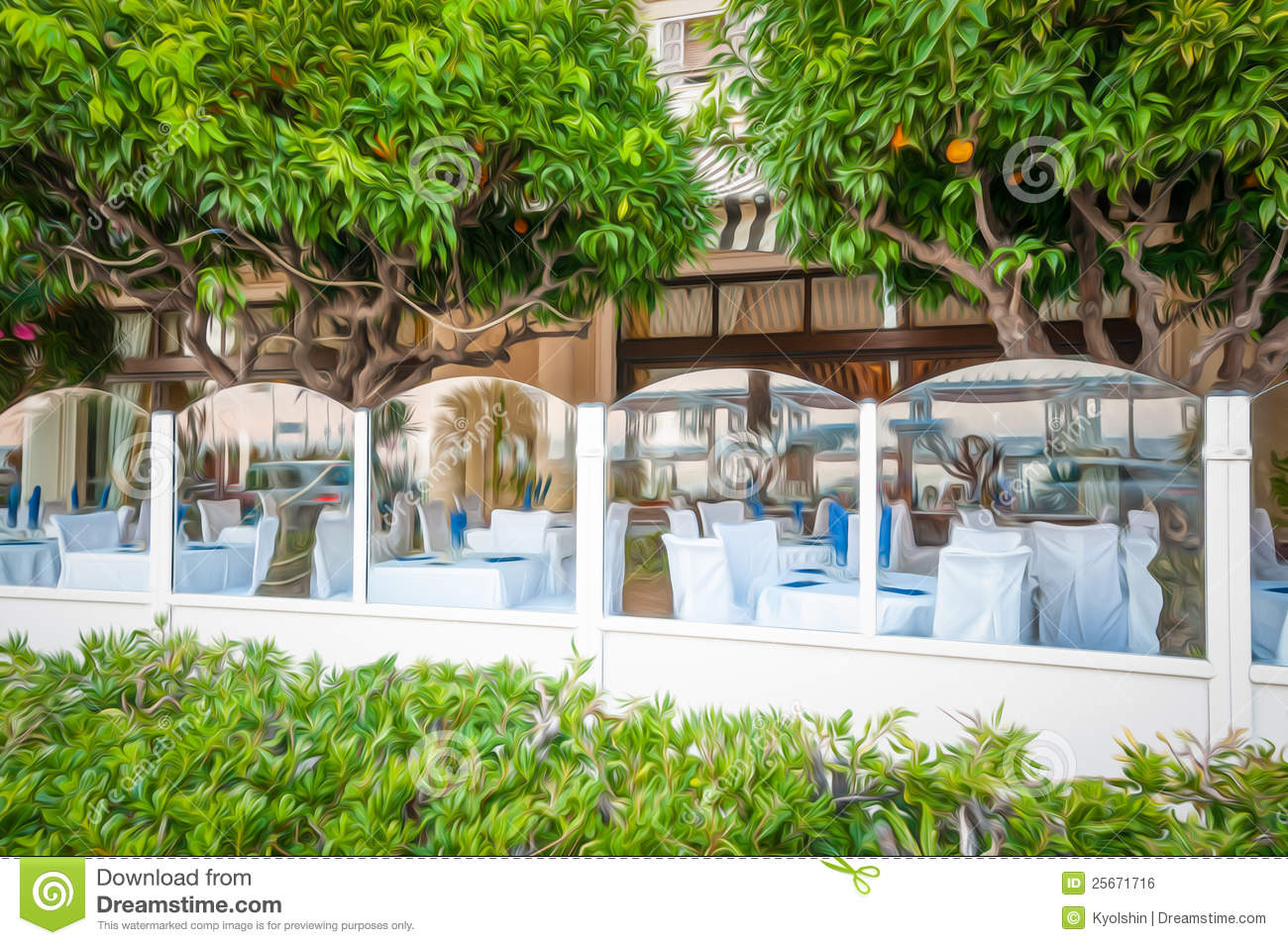 French restaurant with orange trees royalty free stock for Alif tree french cuisine