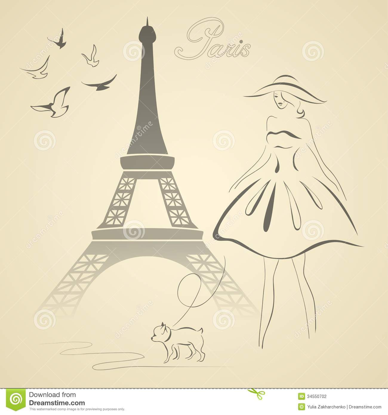 French Retro Style Vector Illustration Stock Vector ...