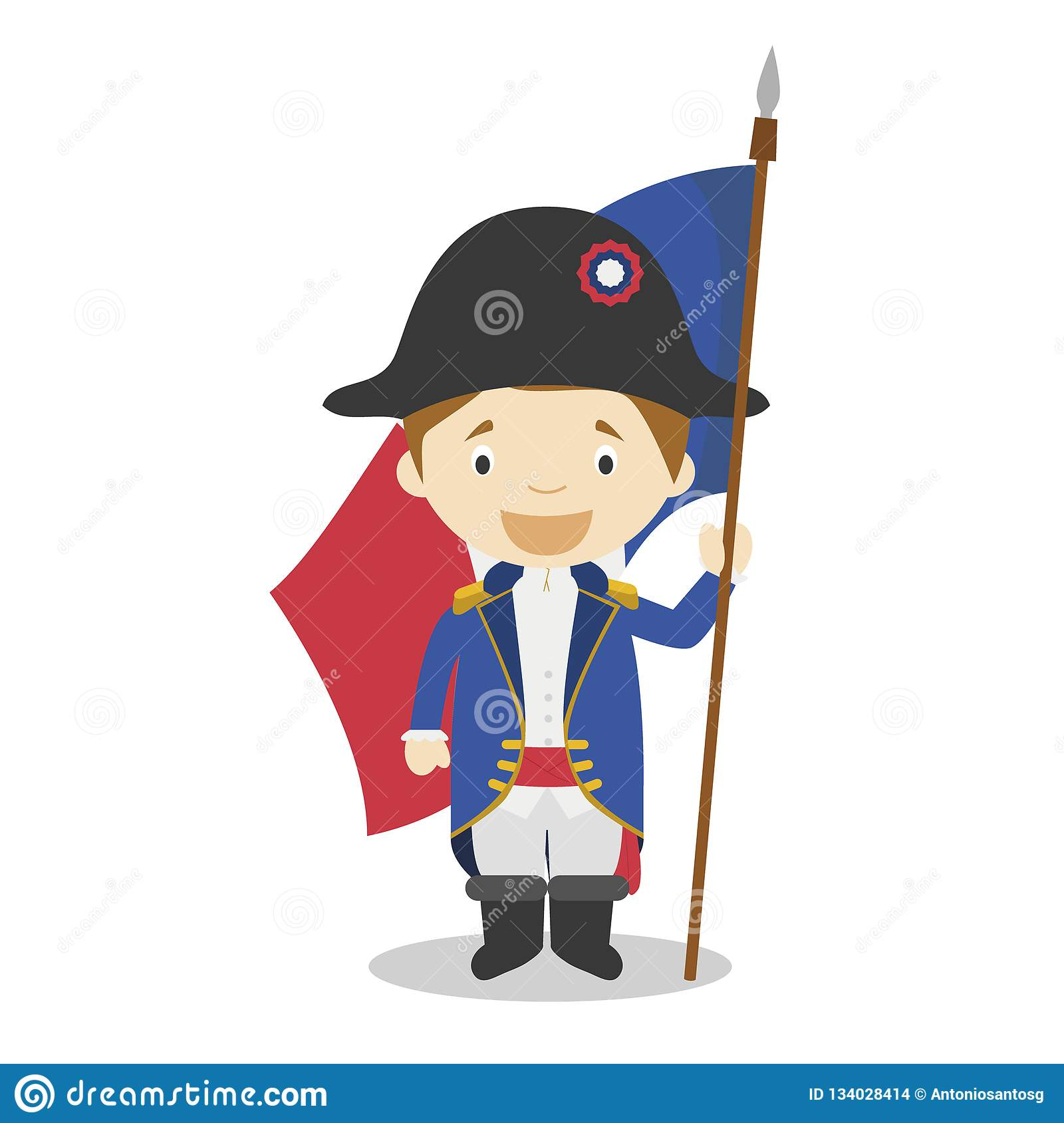 French Revolution Soldier Cartoon Character. Vector