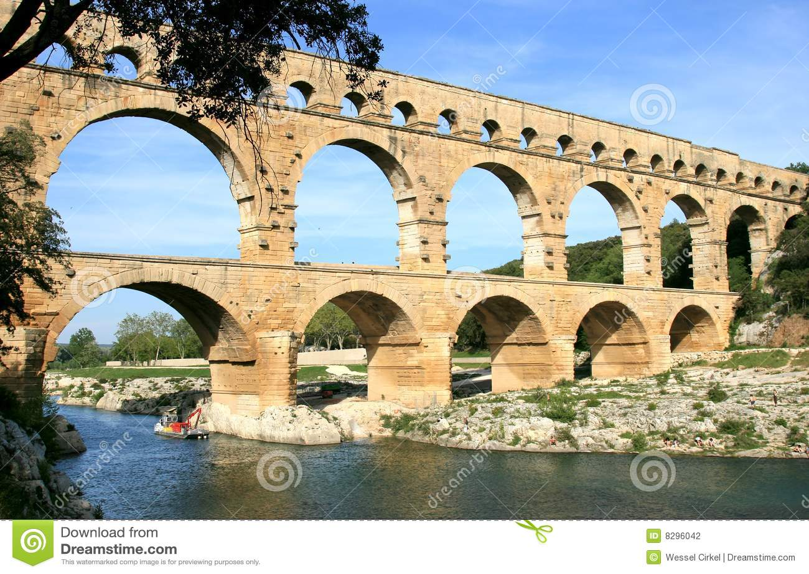french roman aqueduct named pont du gard stock photography image