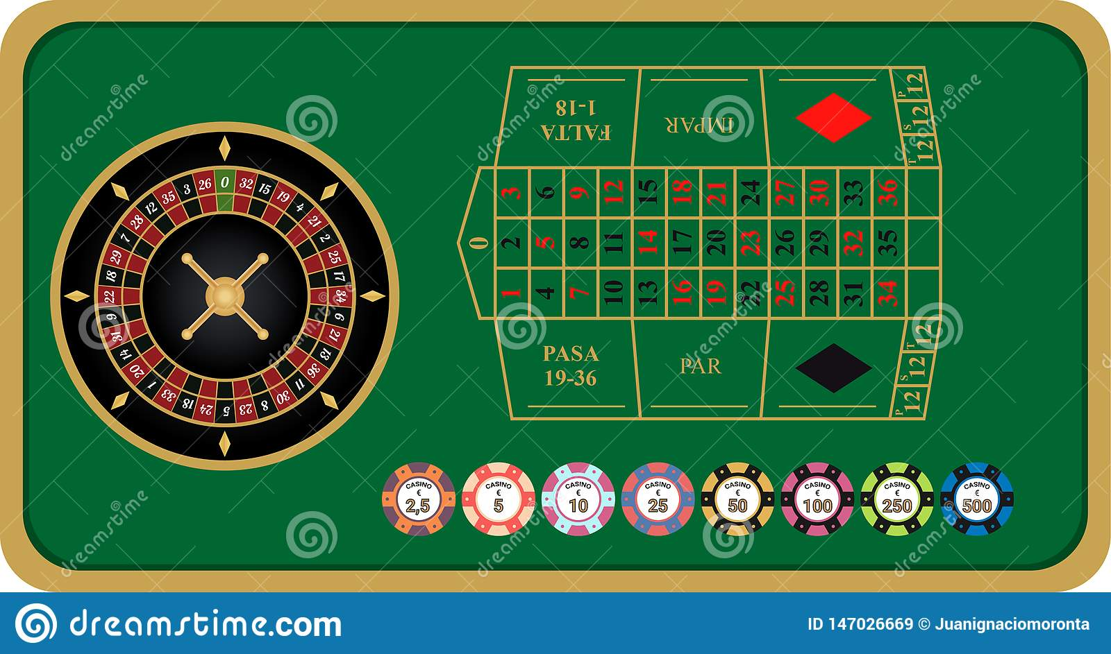 French roulette vector illustration