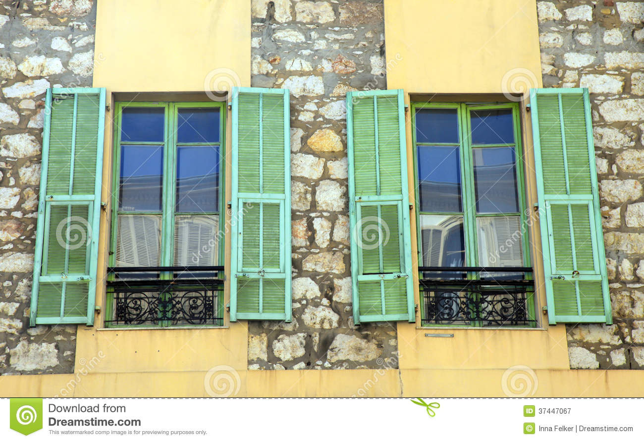 French Rustic Windows With Old Green Shutters Provence