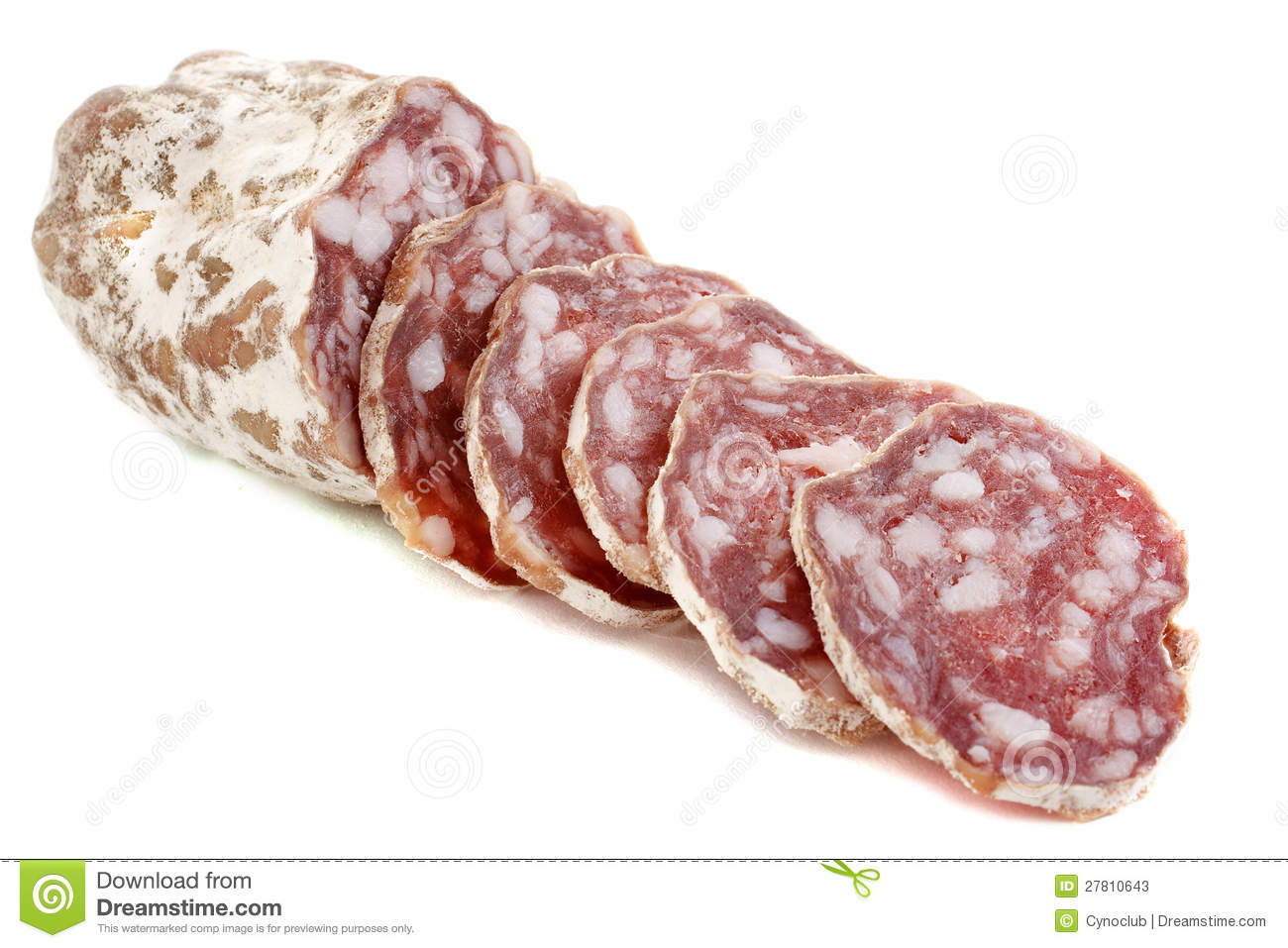 Sliced French saucisson in front of white background.