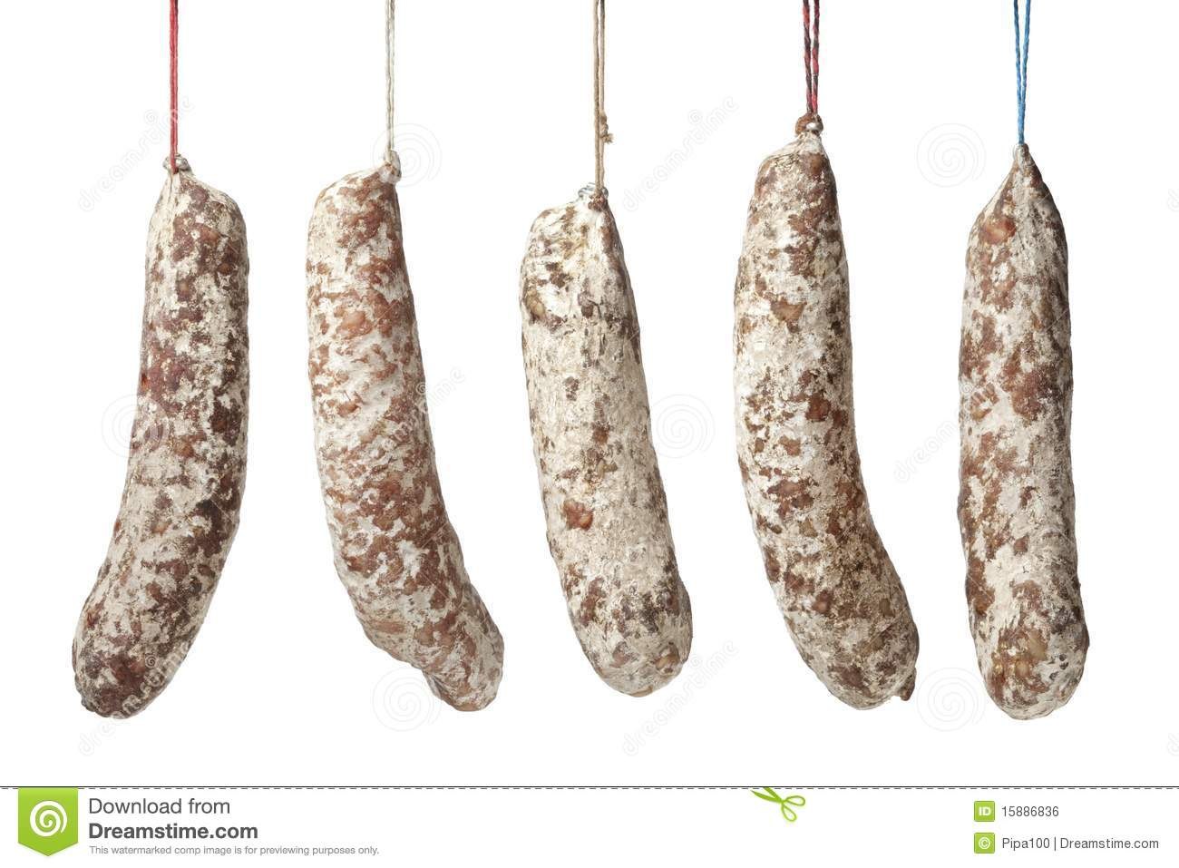 french sausages hanging on a string royalty free stock image image 15886836. Black Bedroom Furniture Sets. Home Design Ideas