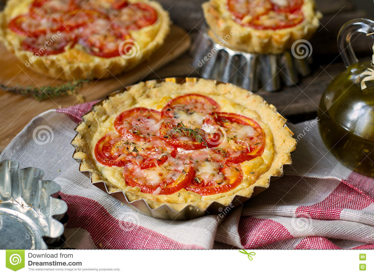 French savoury pie quiche with cottage cheese and tomatoes