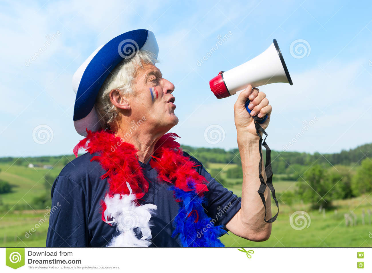 4b5cbae441f French Soccer Fan With Flag Stock Photo - Image of yelling ...