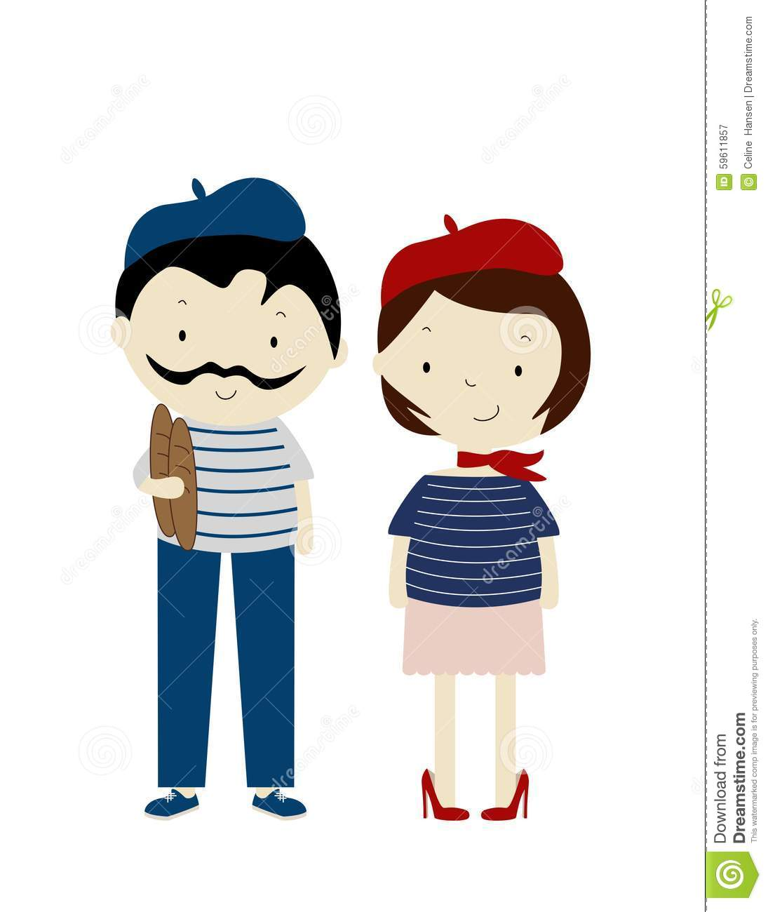 An illustration of a French stereotypical boy and girl, wearing berets