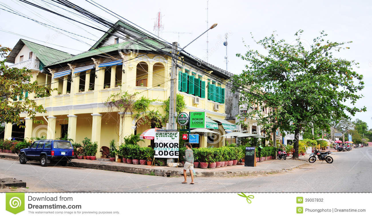 French style building at kampot town cambodia editorial for Quaint hotel