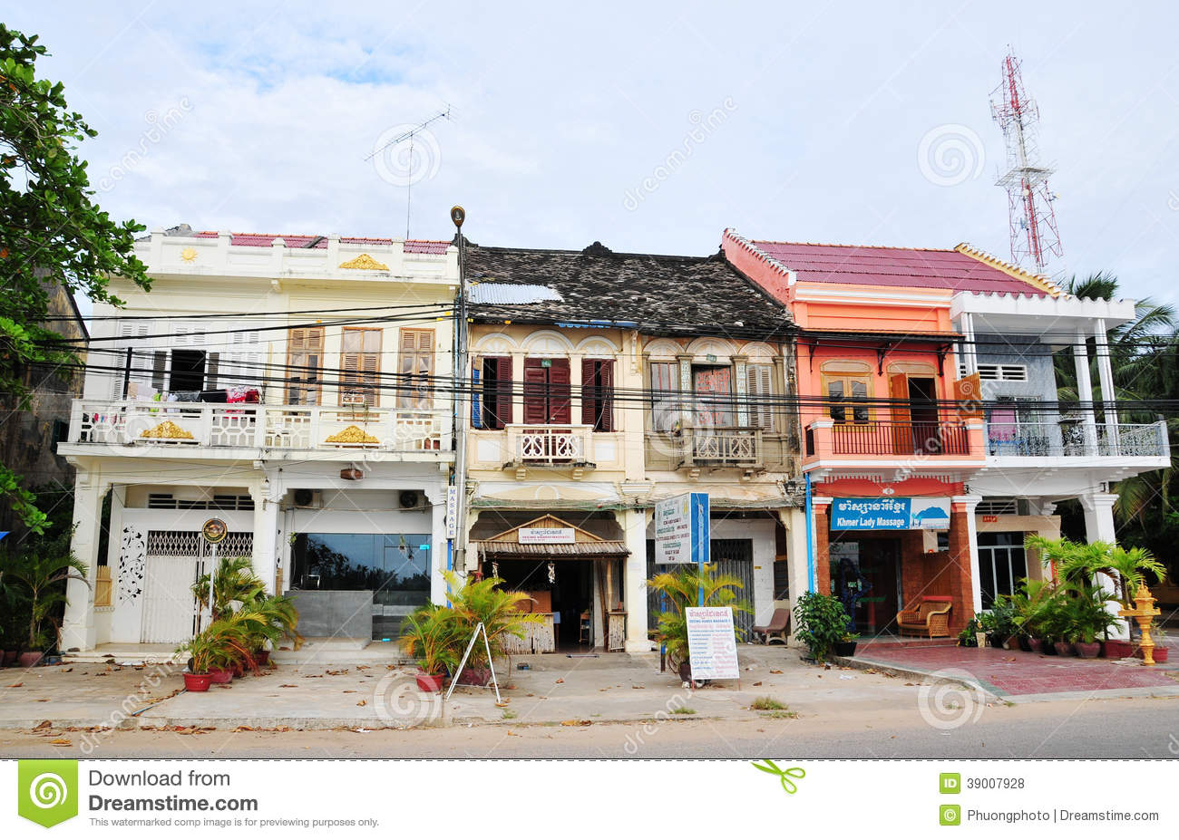 French style building at kampot town cambodia editorial for Charming hotels