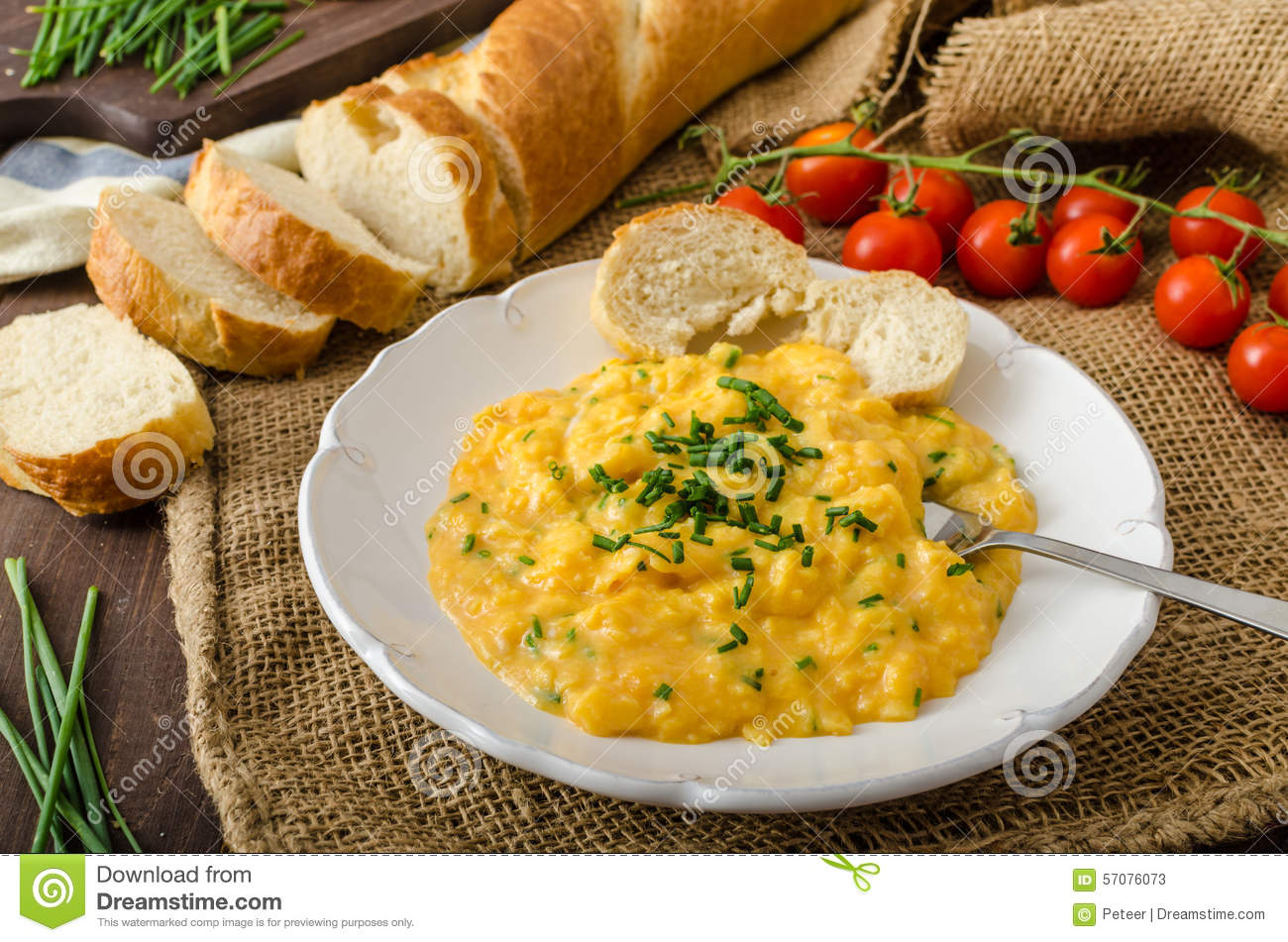 French style scrambled eggs with chives stock image for French style scrambled eggs