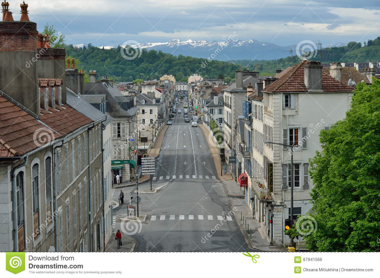 french town pau against the remote mountains editorial photo image