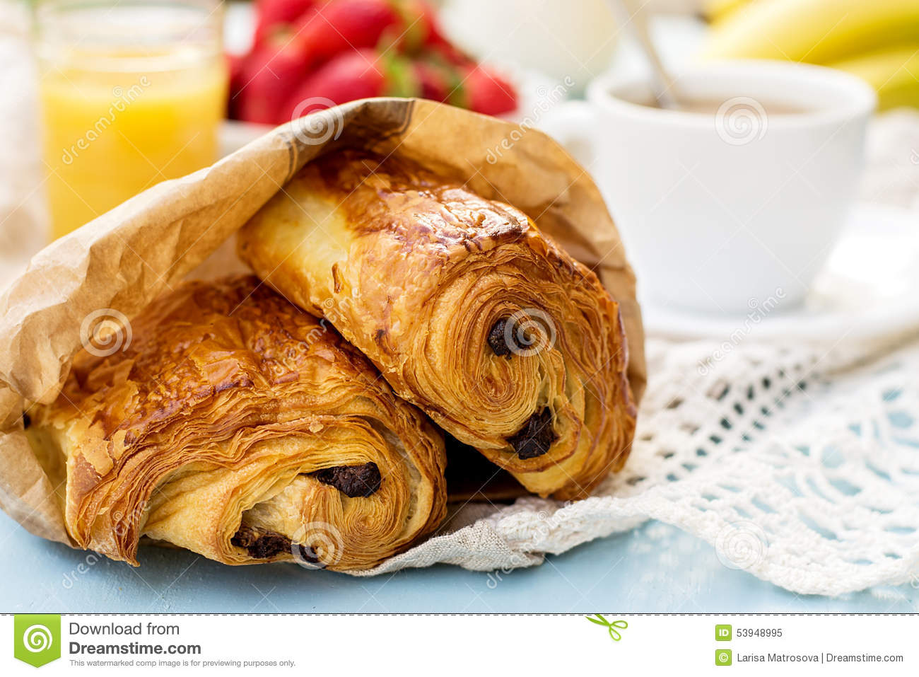 French viennoiserie pain au chocolat for breakfast