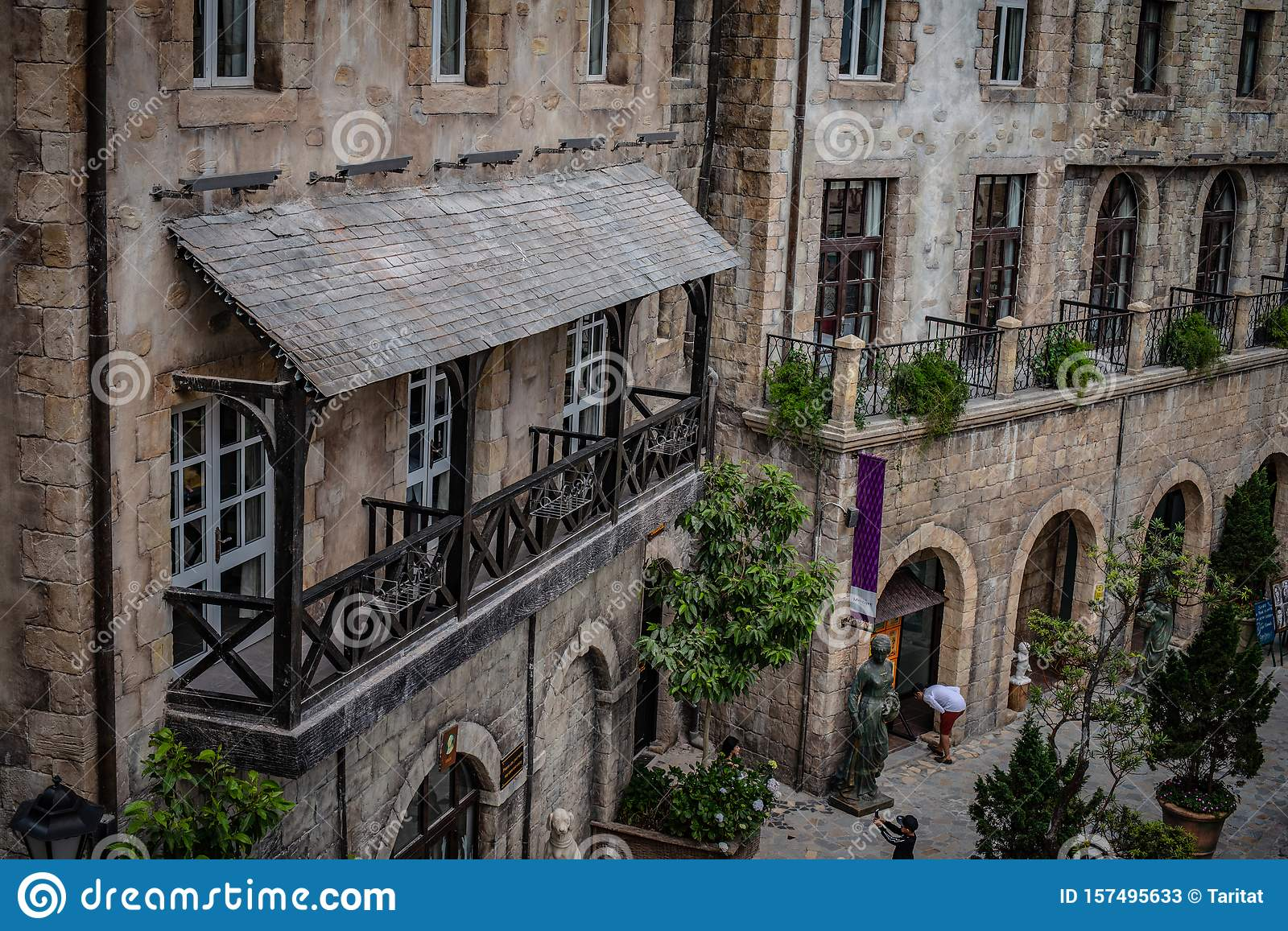 Travellers Visited The Castles Of French Village At Ba Na Hills Landmark In Danang Vietnam Editorial Stock Photo Image Of Church Historical 157495633