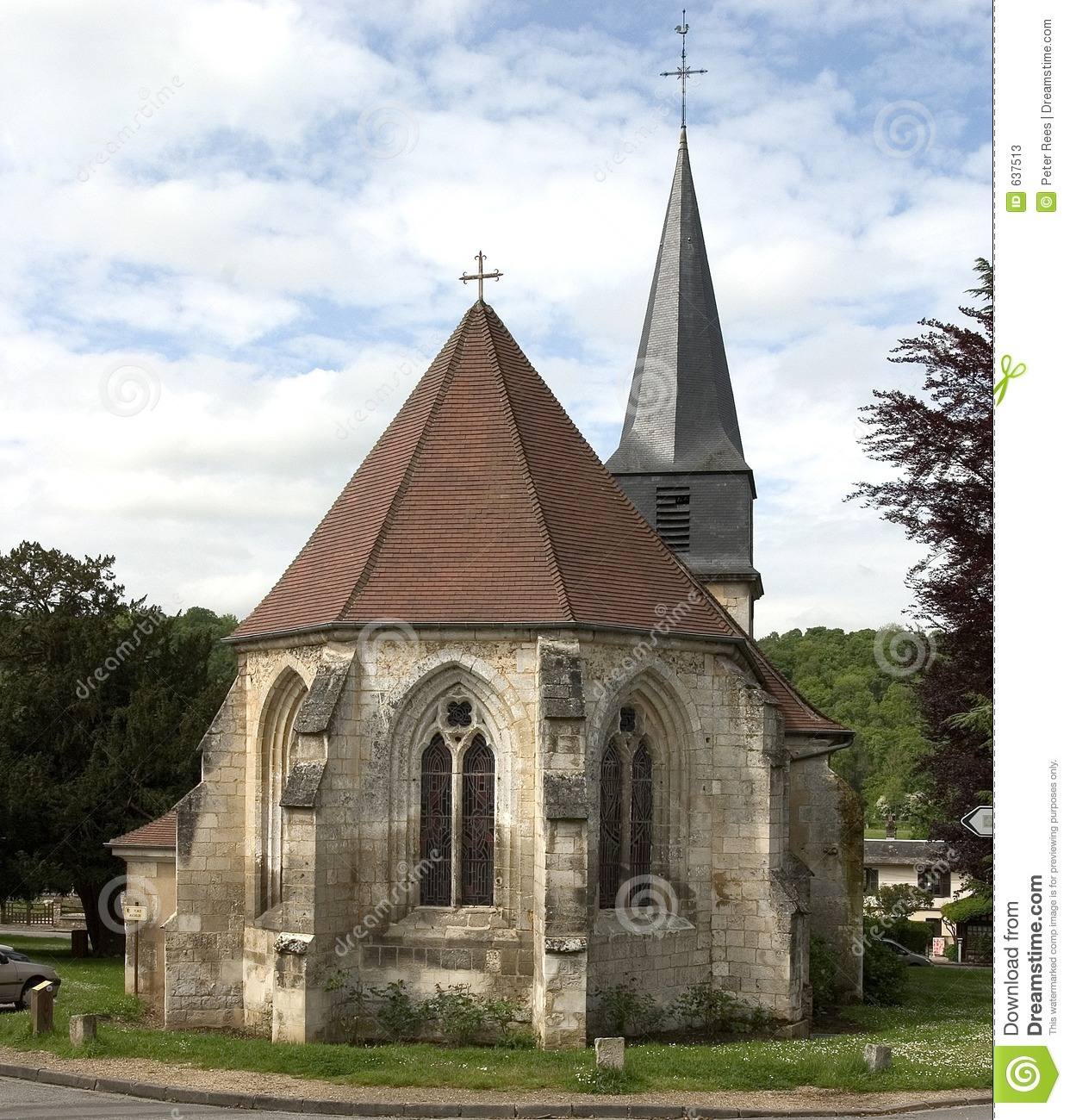 Church in the village of Le Bec-Hellouin, Normandy, France.