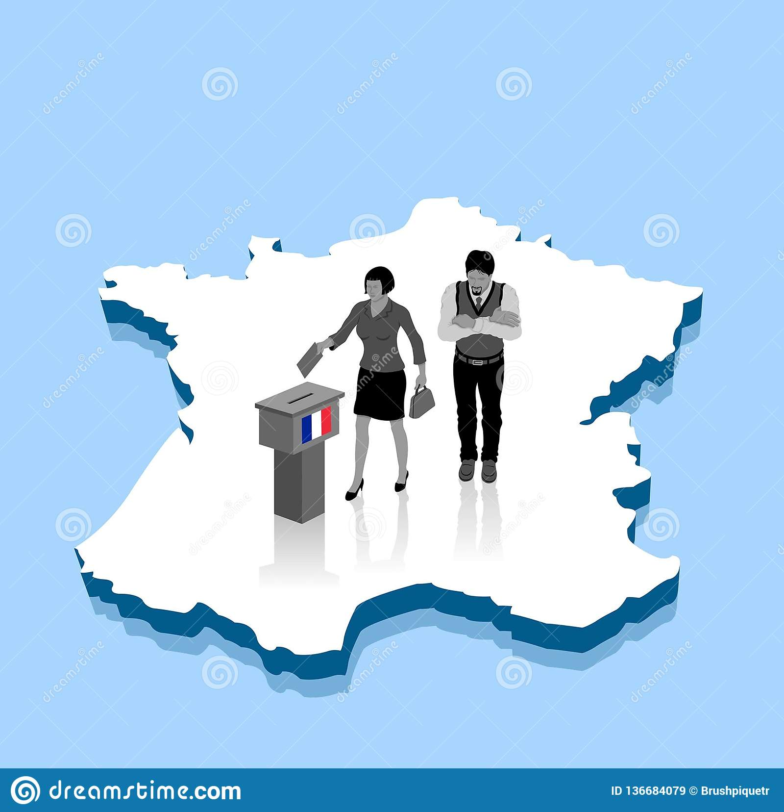 Map Of France Voting.French Voters Are Voting For Election Over A France 3d Map Stock