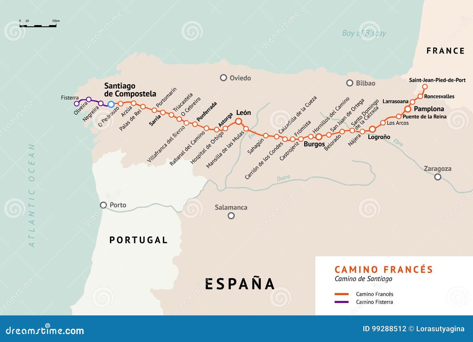 Map santiago de compostela Map of