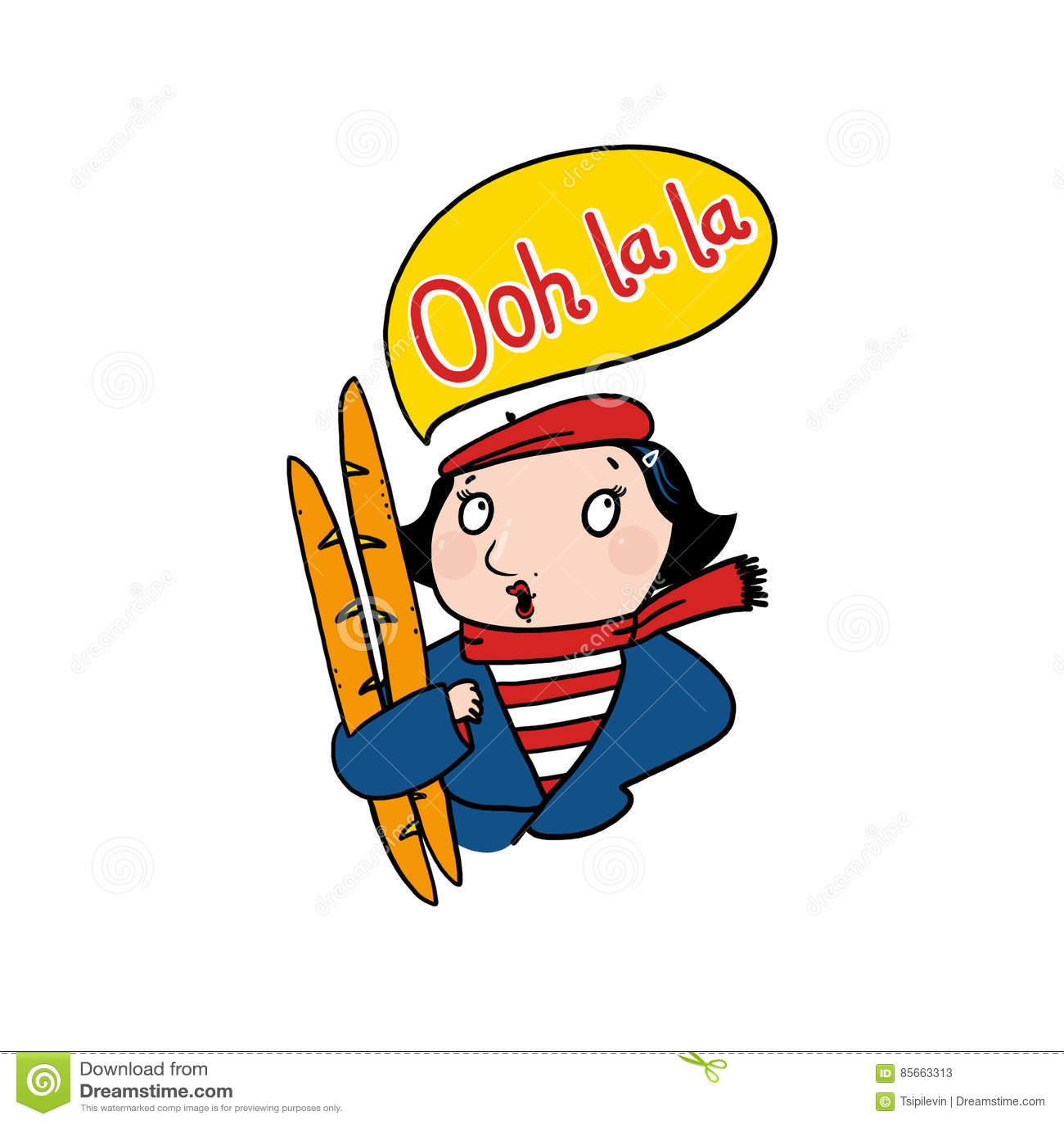 French Woman Saying Ooh La Illustration Stock
