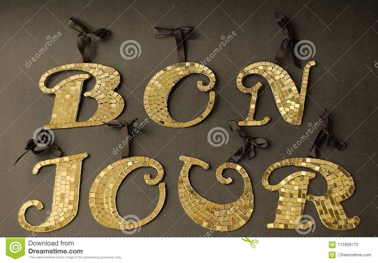 Bonjour Means Good Day In French Stock Photo Image Of Good
