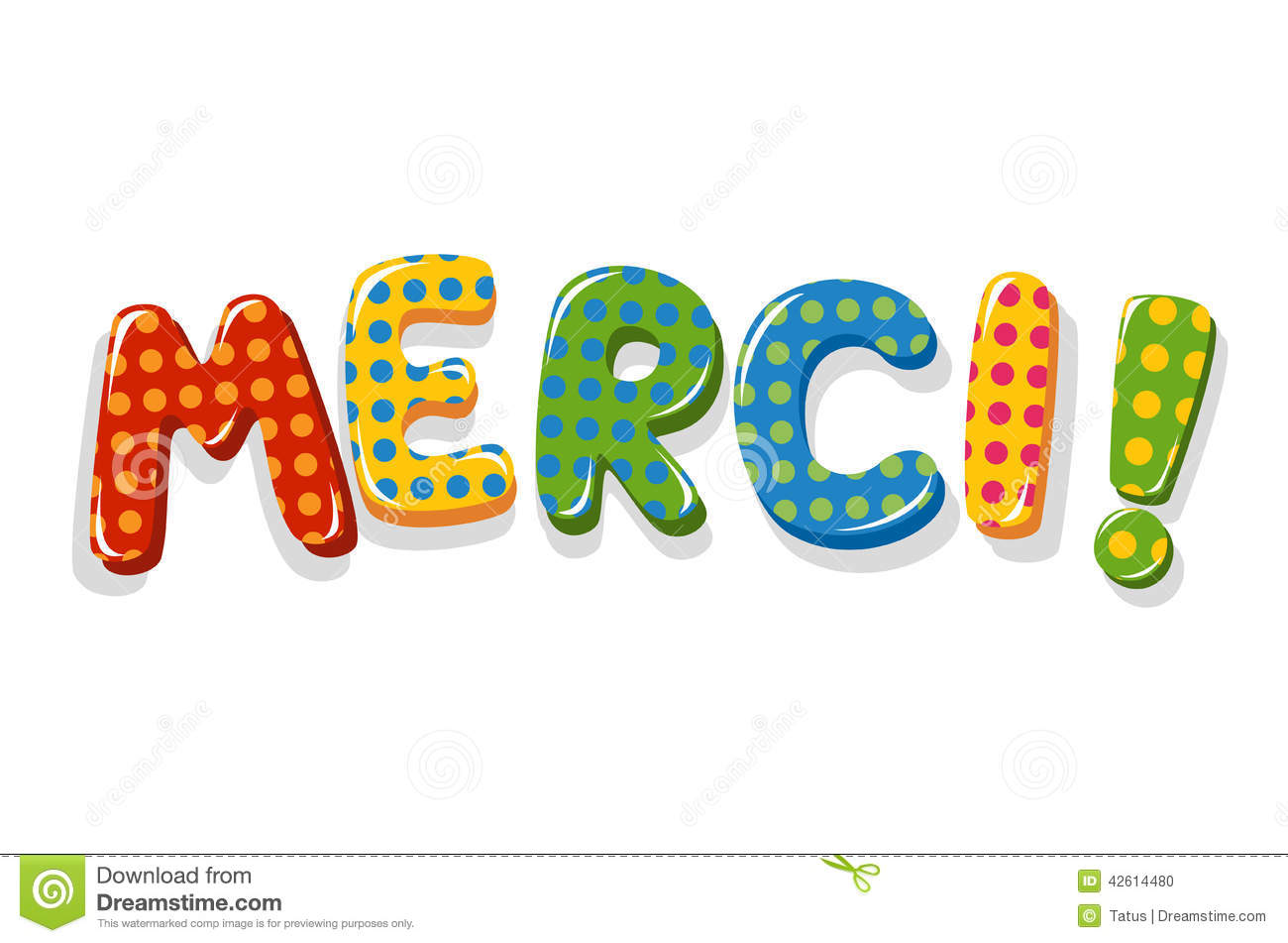 French Word Merci Colorful Lettering Stock Vector ...
