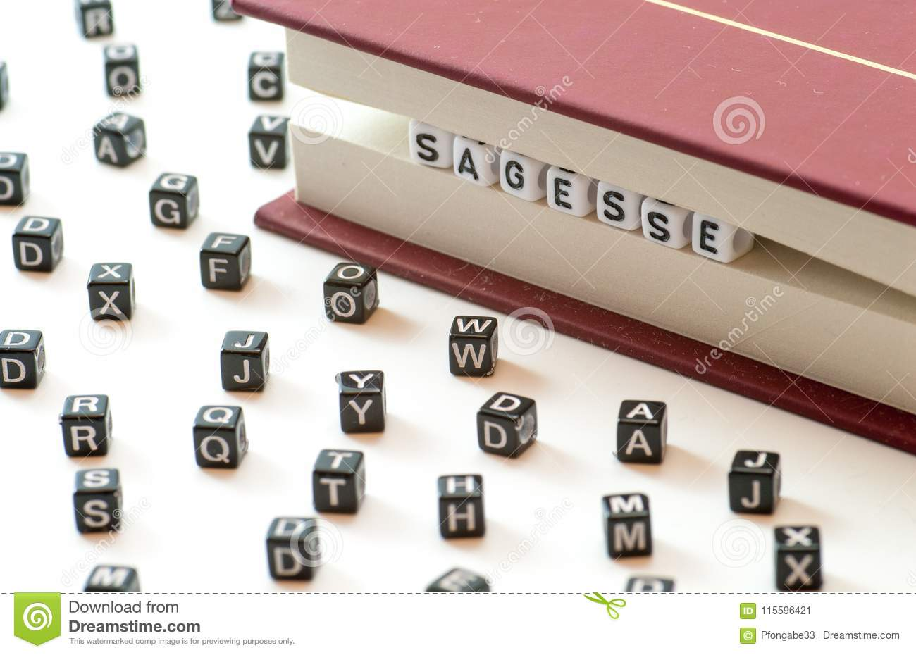 French Word Sagesse Meaning Wisdom Written With Letters Trapped