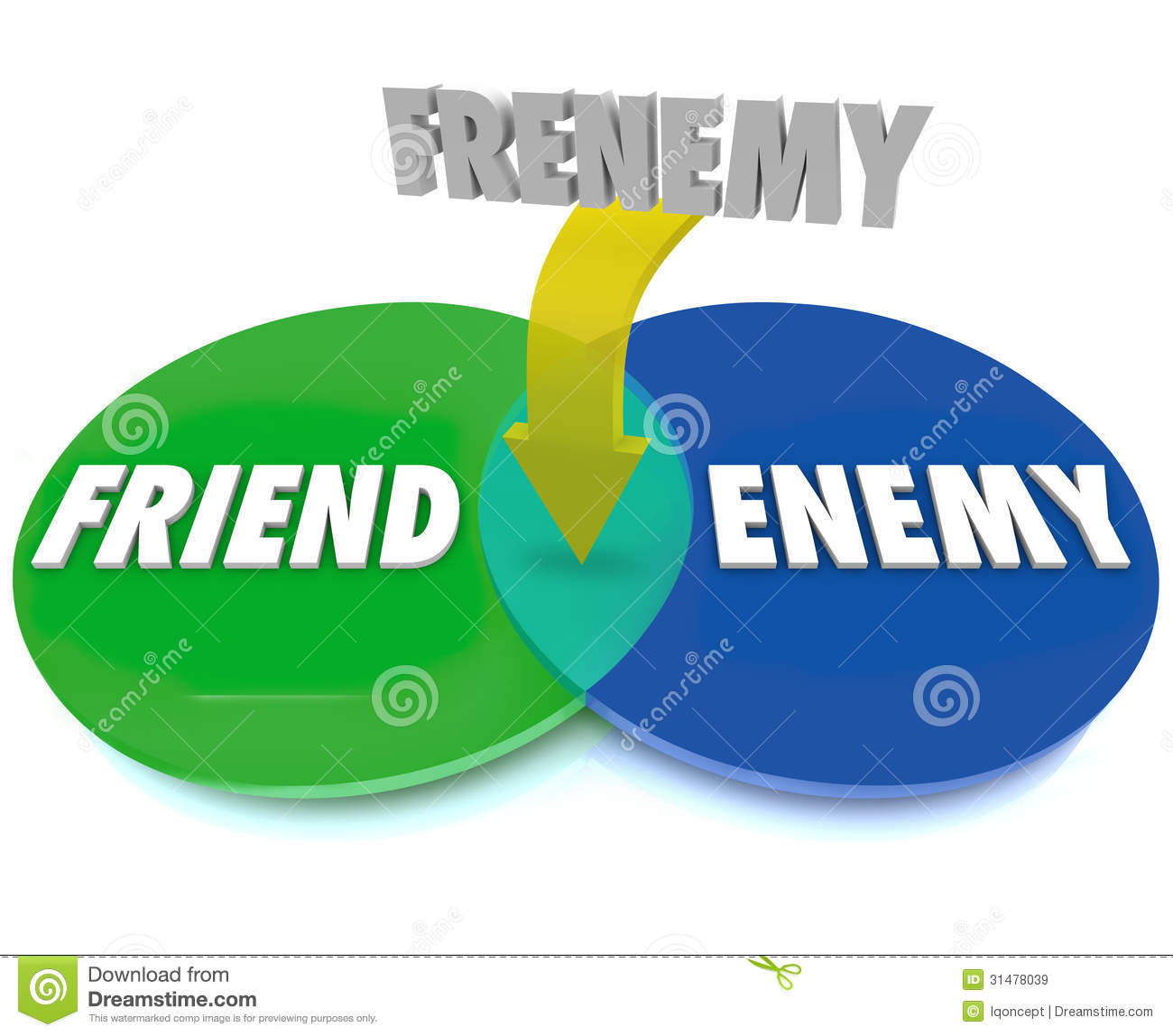 frenemy venn digram friend becomes enemy stock