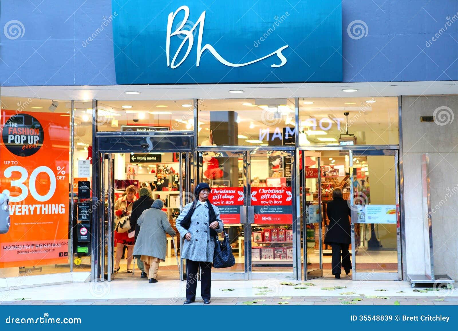 Frente casero británico de la tienda de las tiendas de BHS