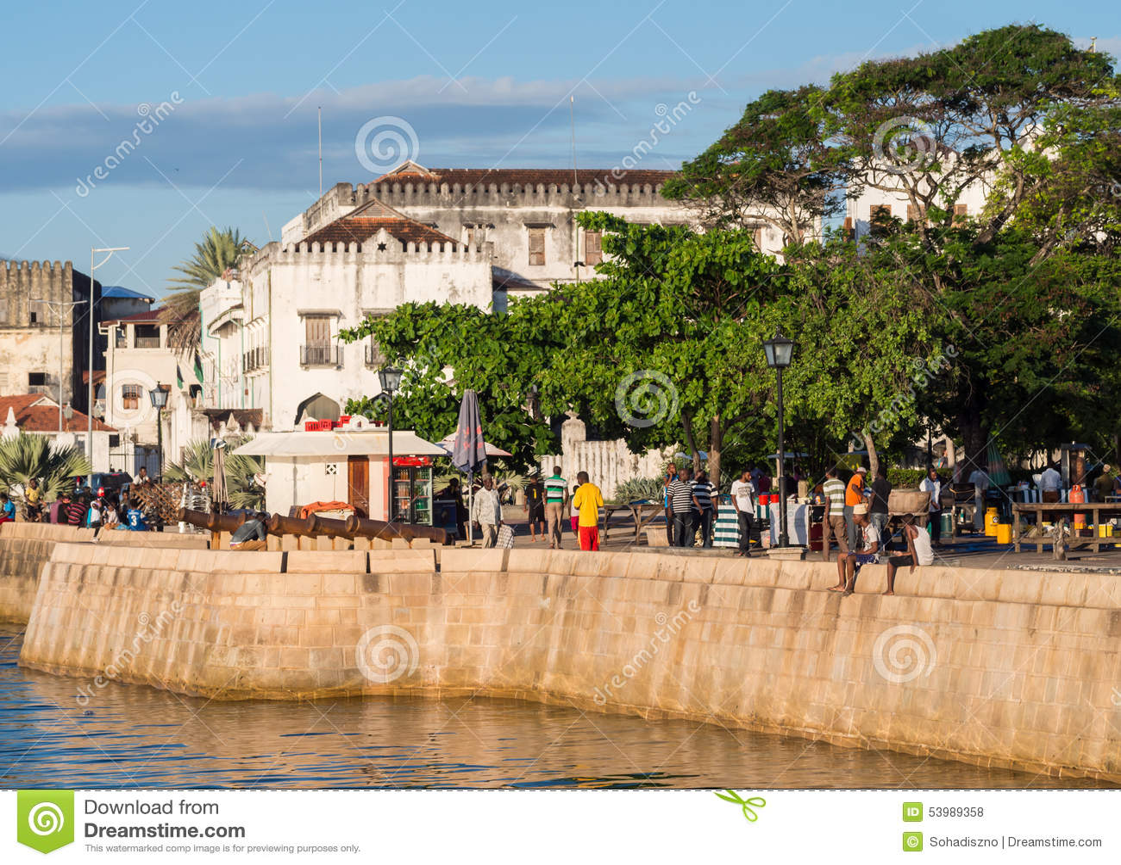 Frente marítima na cidade de pedra, Zanzibar, Tanzânia