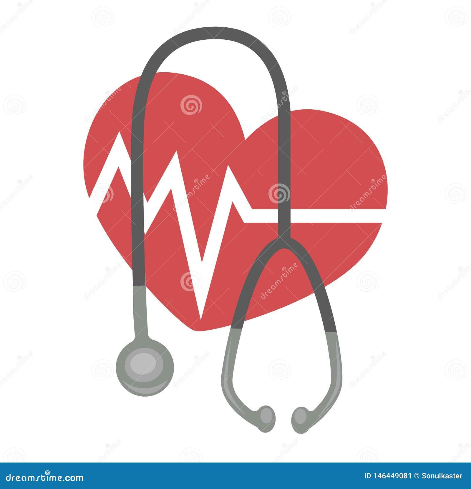 Frequência cardíaca e de medicina e de cardiologia do estetoscópio ícone isolado cuidados médicos