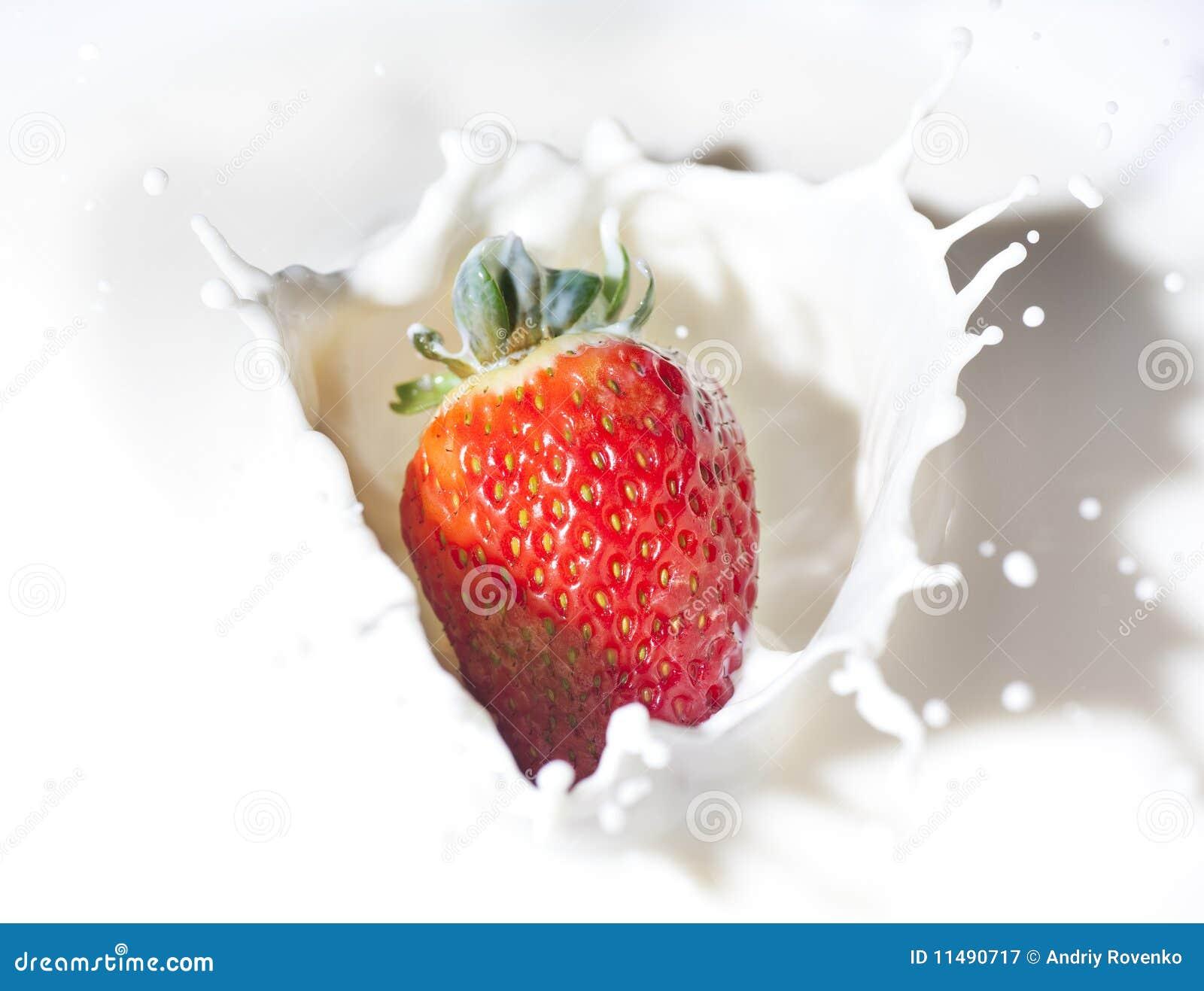 Fresa en una crema