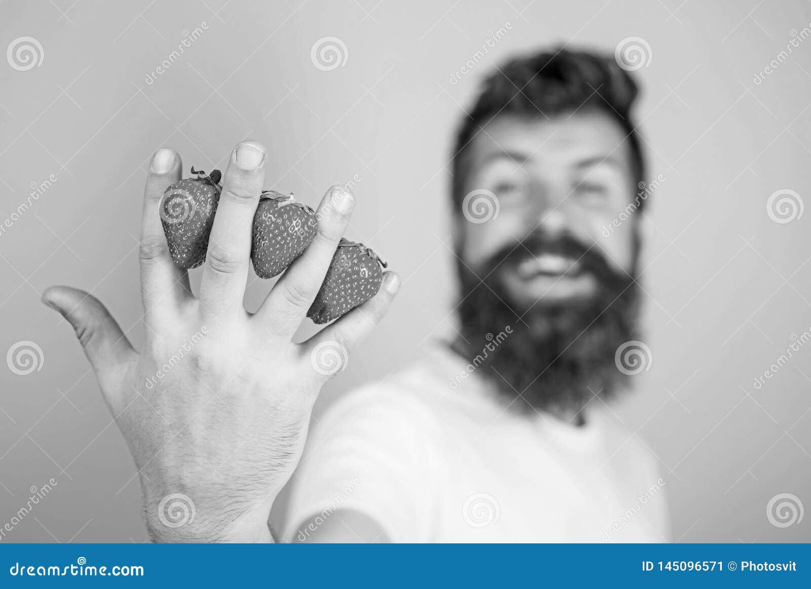 Fresa llena con los antioxidantes de la fibra de la vitamina C Sirva las fresas del inconformista de la barba entre el fondo del
