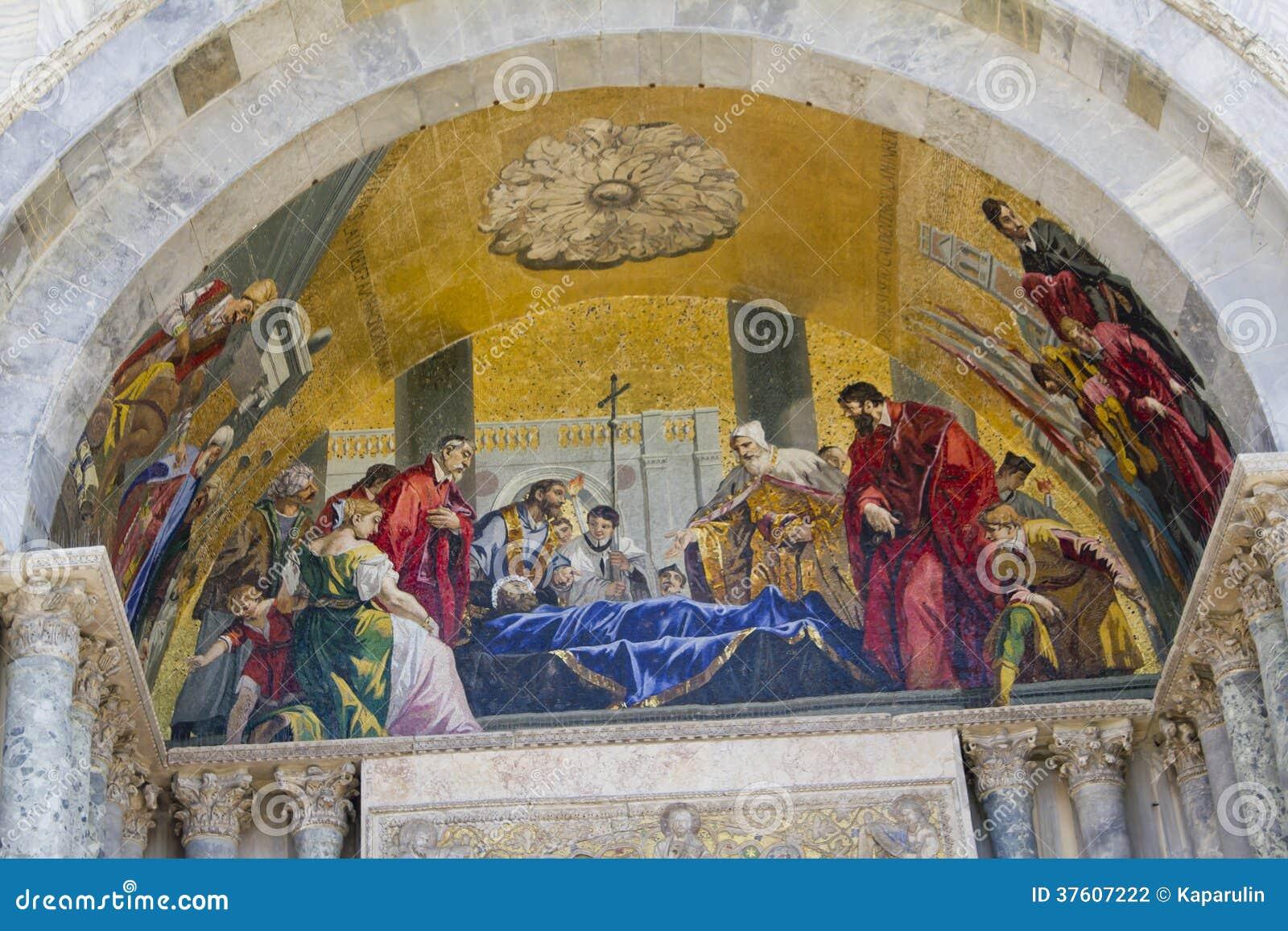 Fresco Basilica Di San Marco Stock Photo - Image of building ...