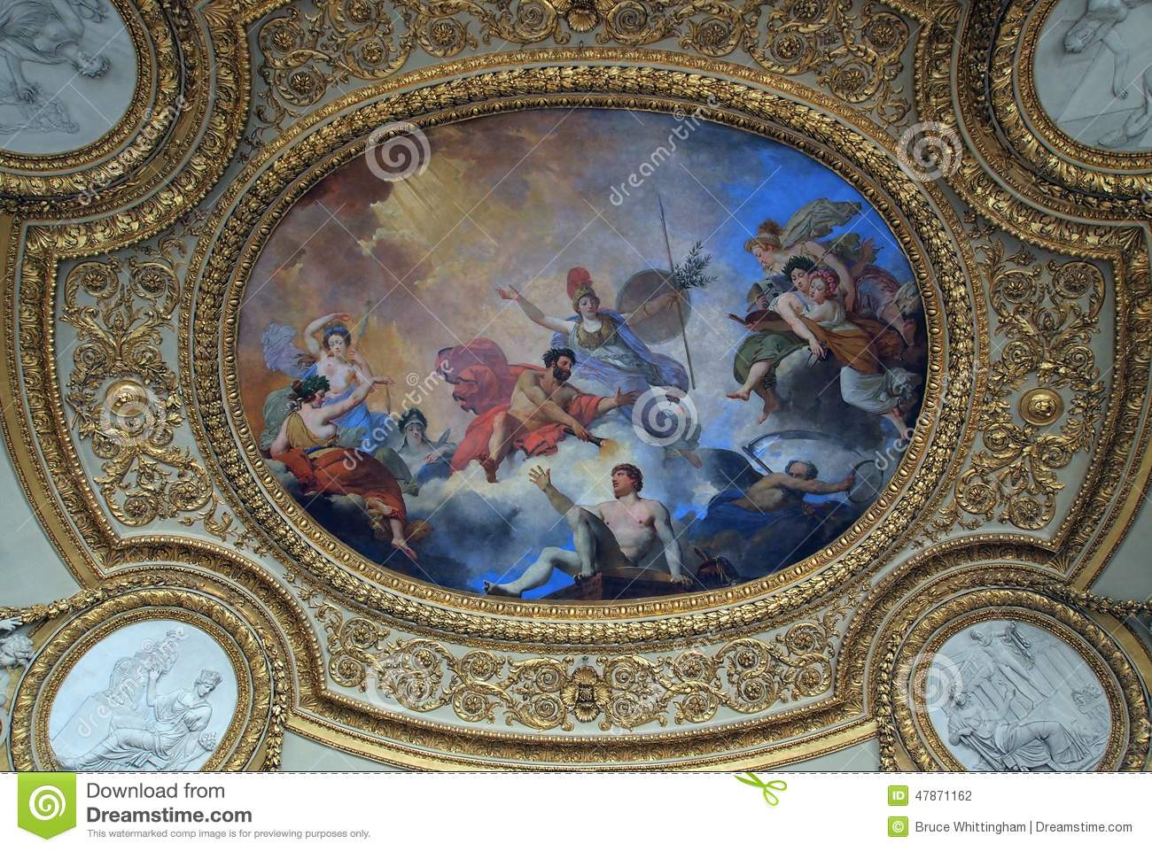 Fresco On Ceiling Louvre Editorial Photography Image Of