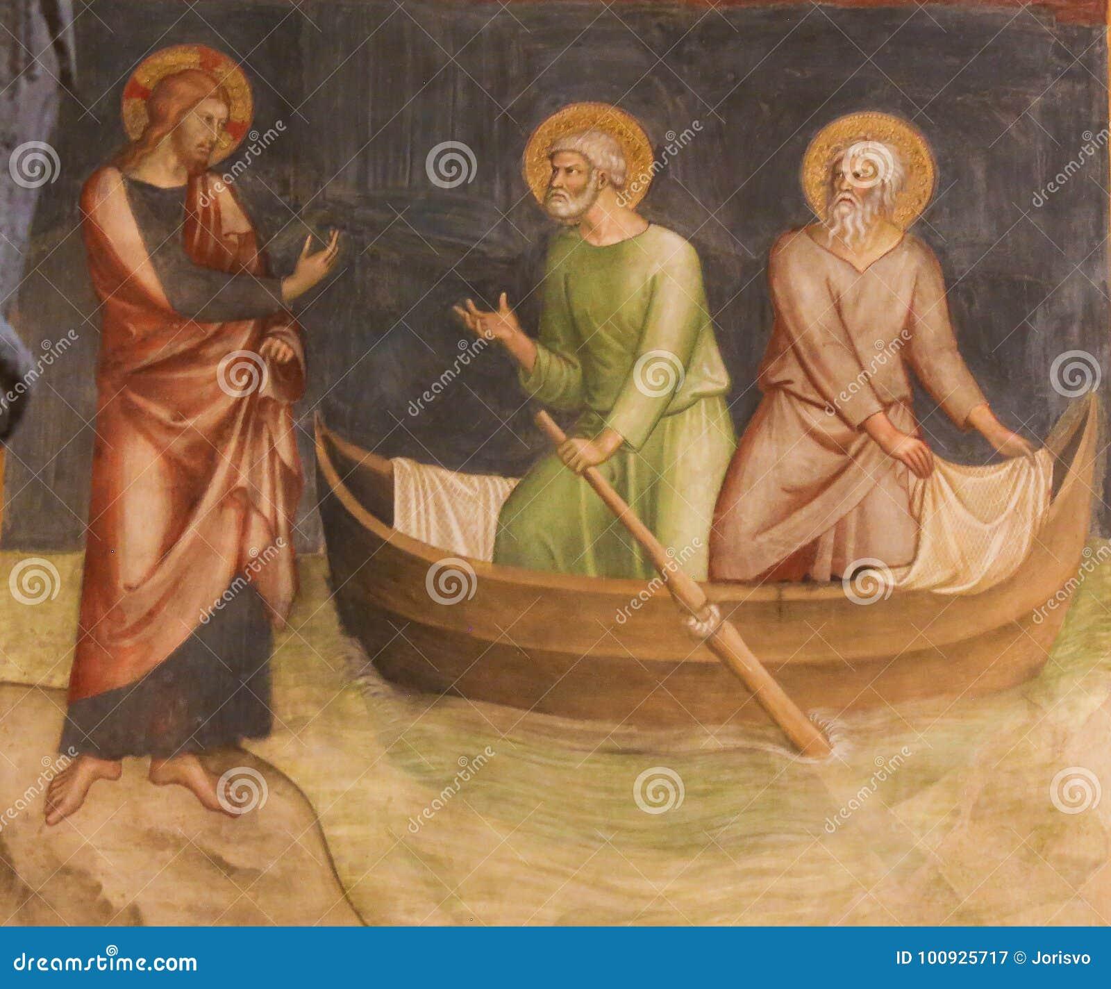 Fresco en San Gimignano - Jesús llama Peter y a Andrew