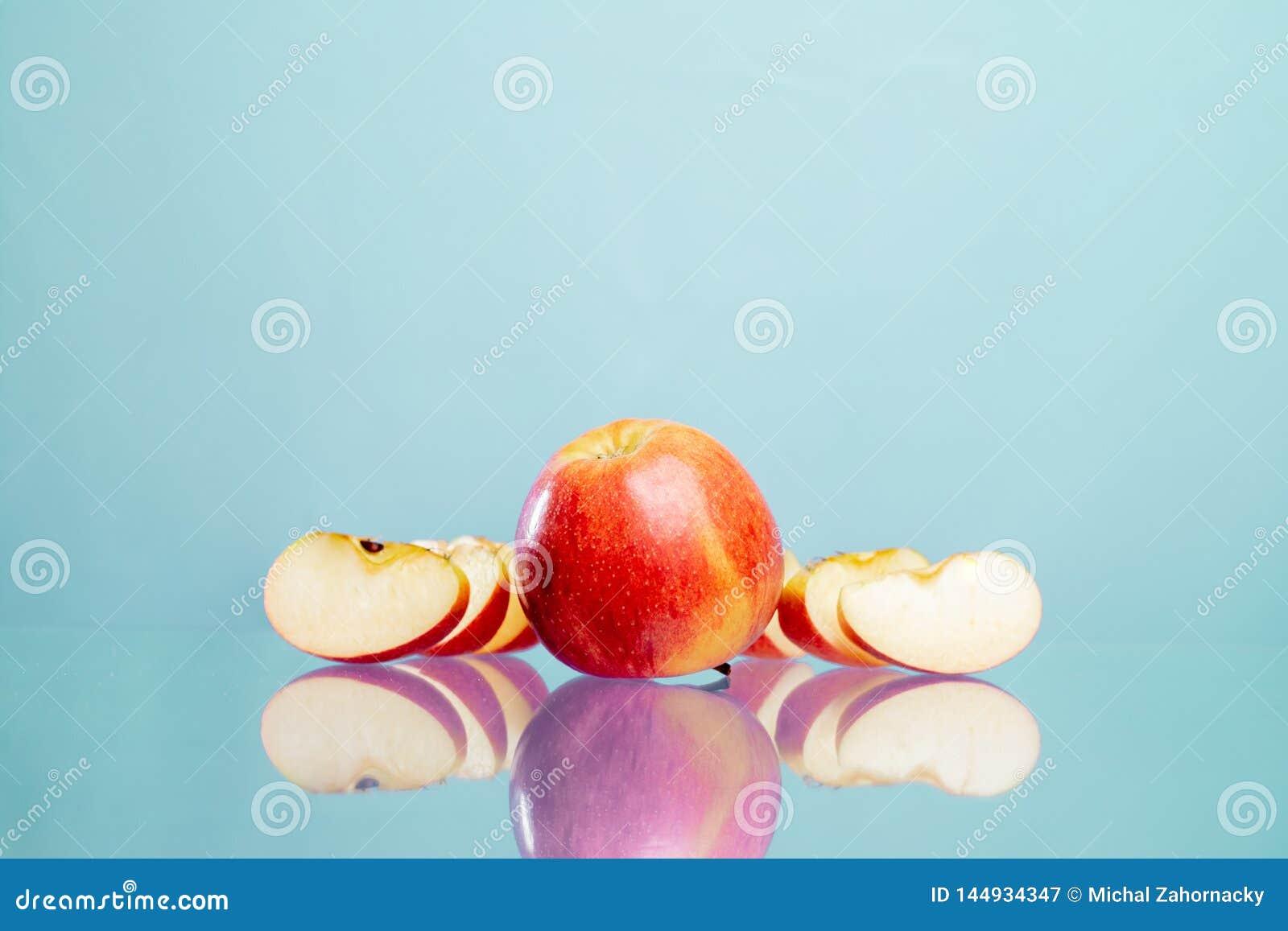 Fresco, frutti, mele affettate, mele, bio-, vitamine,