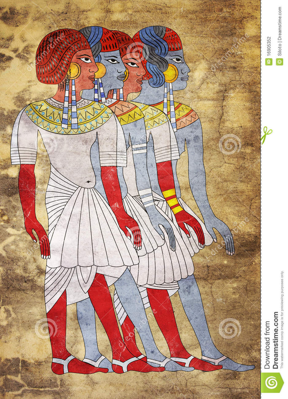 Fresco of women of ancient egypt stock photography image for Egyptian mural painting