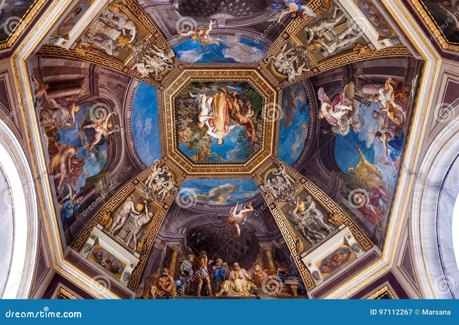 Frescoed Decke im Hall der Musen