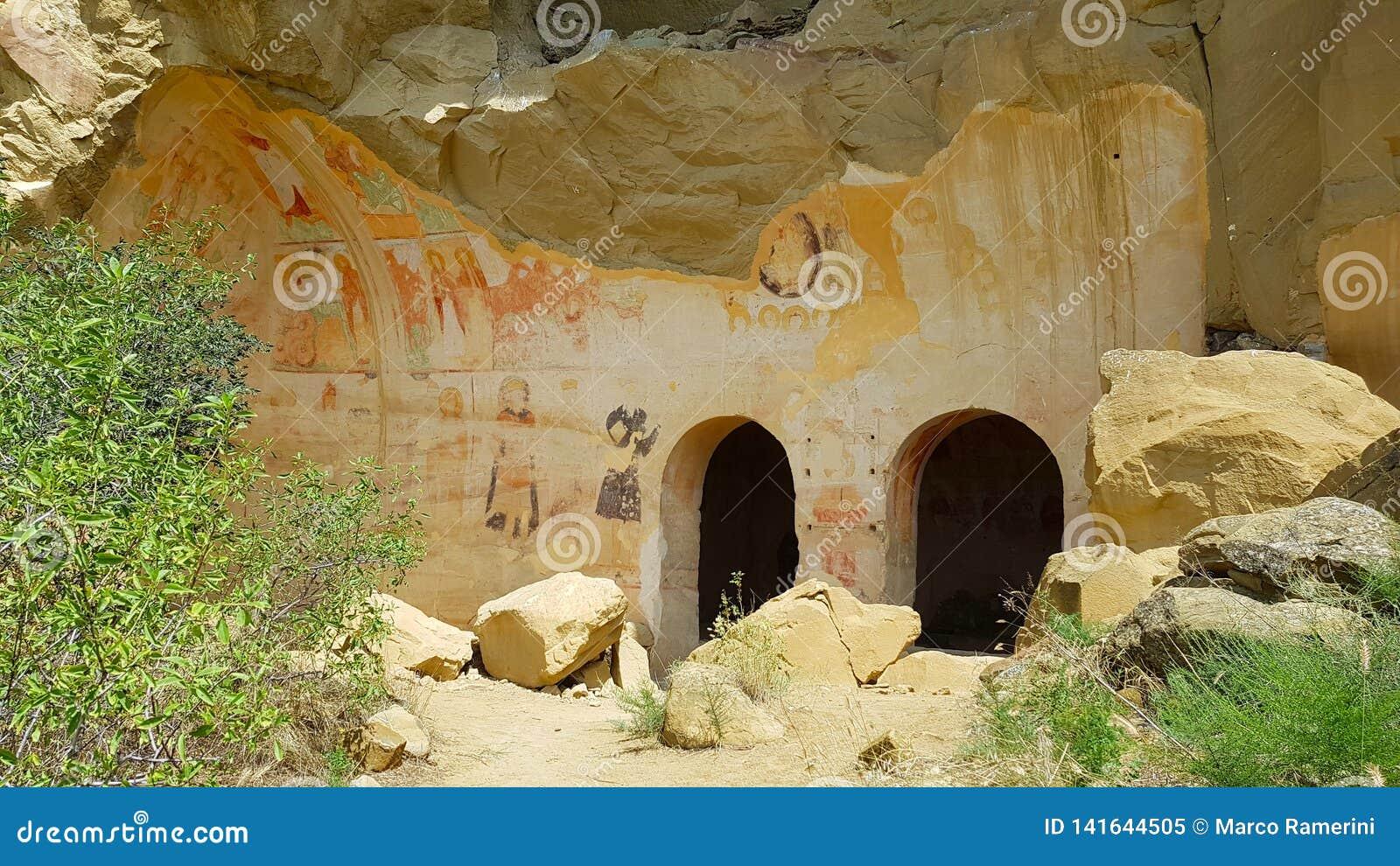 Frescoes i den David Gareja kloster i Georgia