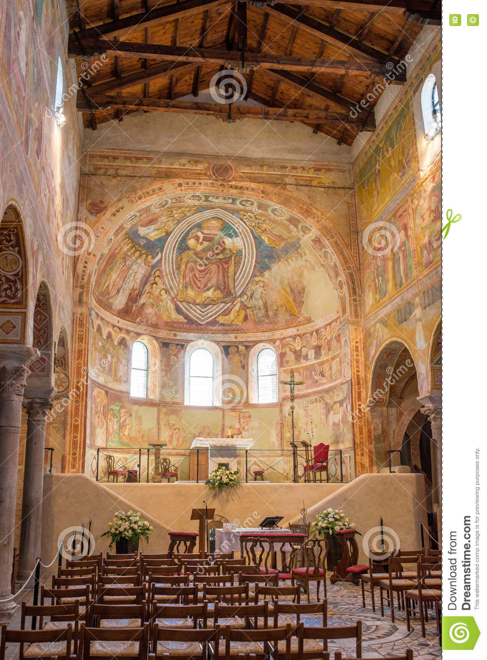 Frescoes medieval Cathedral of Chioggia, monuments, august 2016