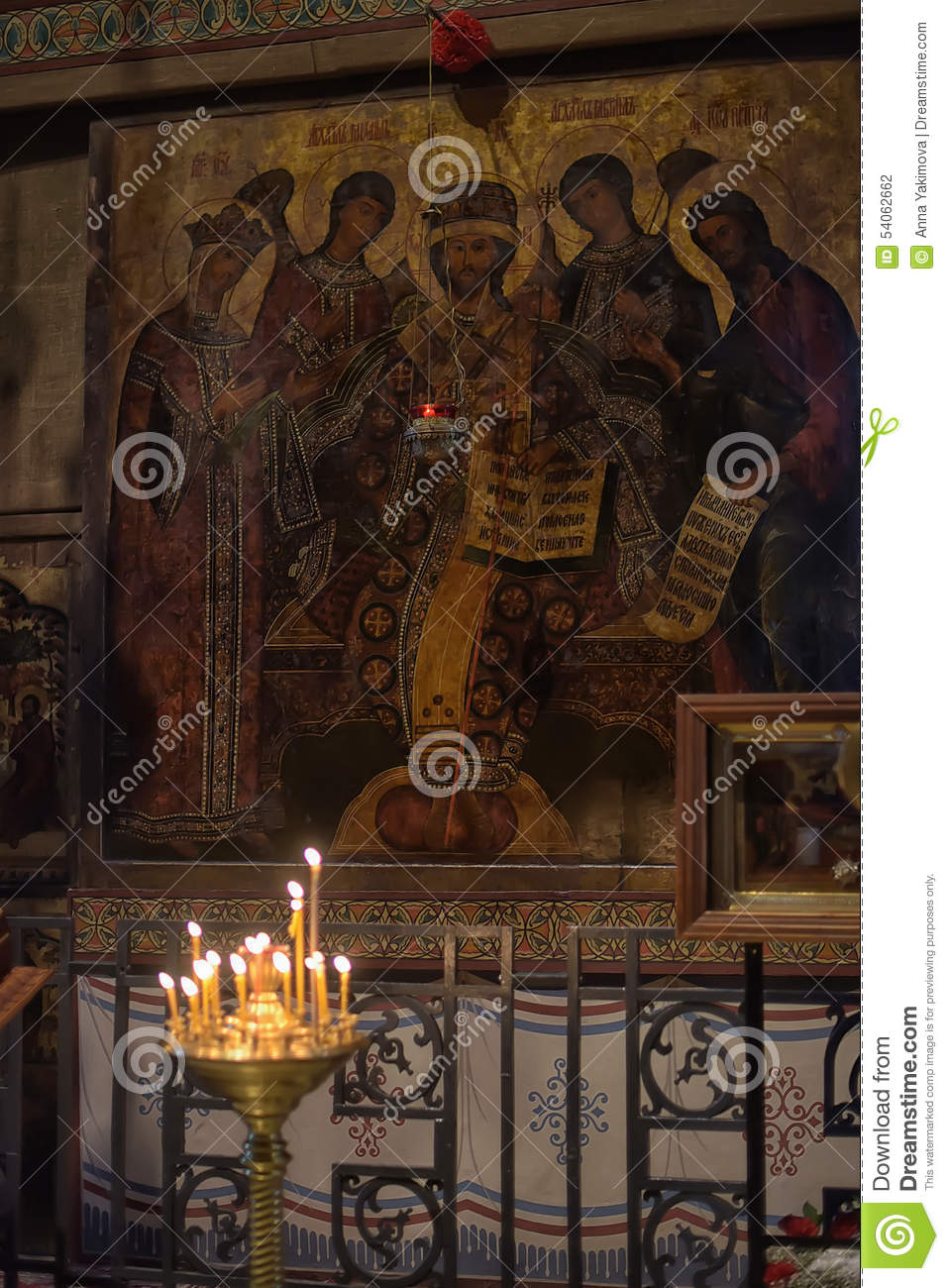 Chandelier And Frescoes Inside The Transfiguration