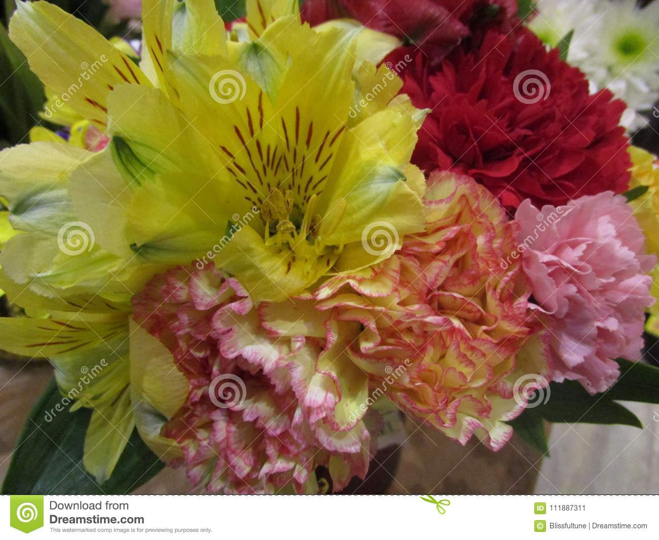 Fresh And Attractive Mixed Flower Bouquet At The Florist Stock Image