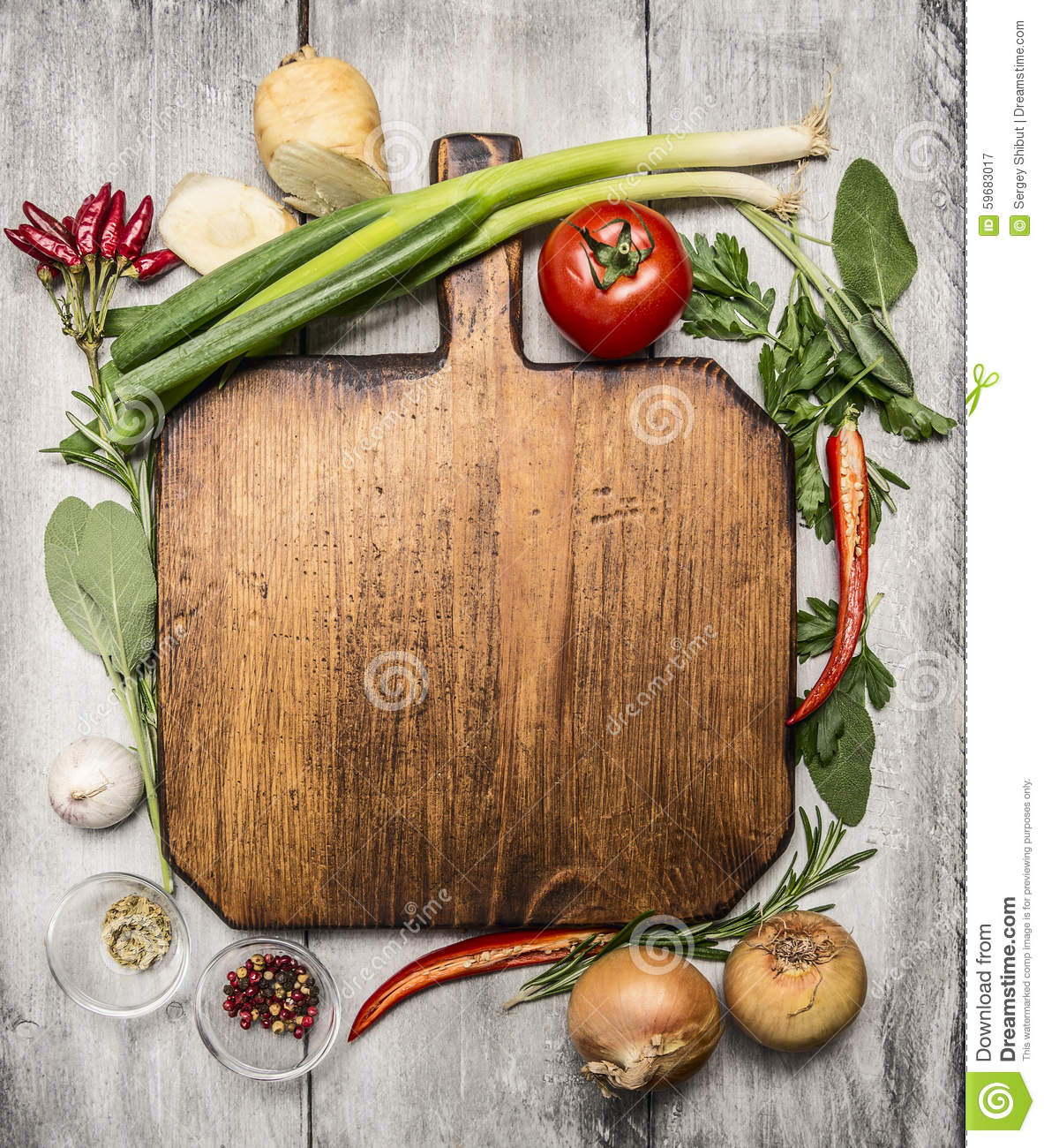Fresh Autumn And Vegetables Seasonings And Hearbs Around A Wooden Cutting  Board On Bright, Rustic Wood Background Top View Stock Photo   Image:  59683017