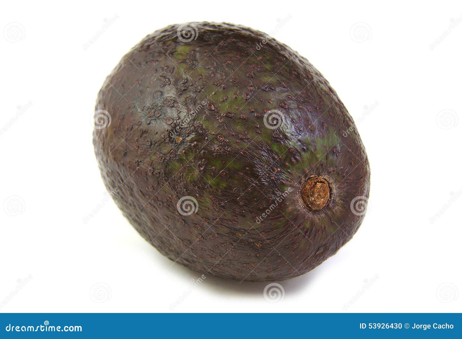 A fresh avocado on a white background