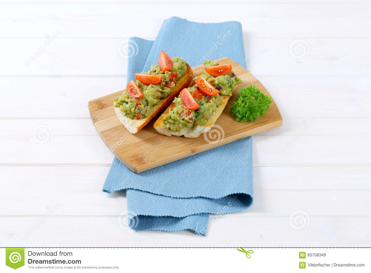 Fresh Baguettes With Guacamole Stock Photo