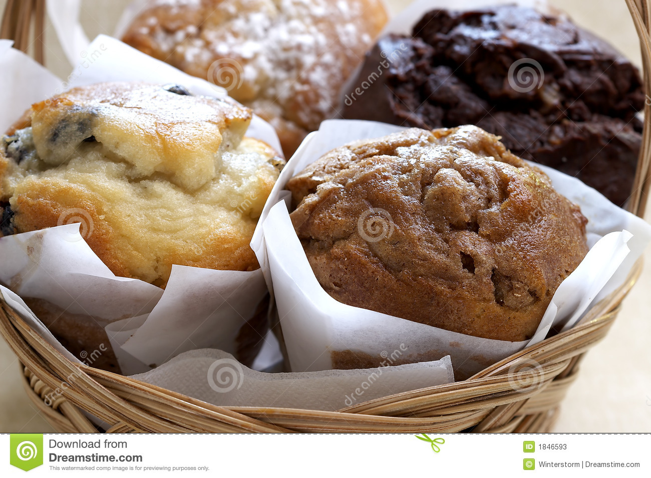 Fresh Baked Muffins In Basket