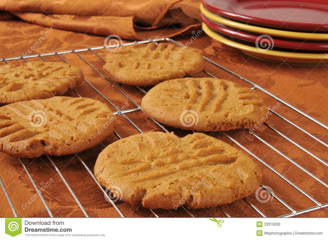 fresh baked peanut butter cookies stock photo image