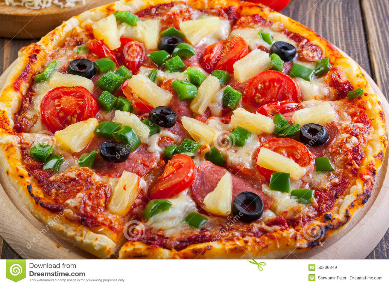 fresh baked pizza hawaii stock image image of cuisine. Black Bedroom Furniture Sets. Home Design Ideas
