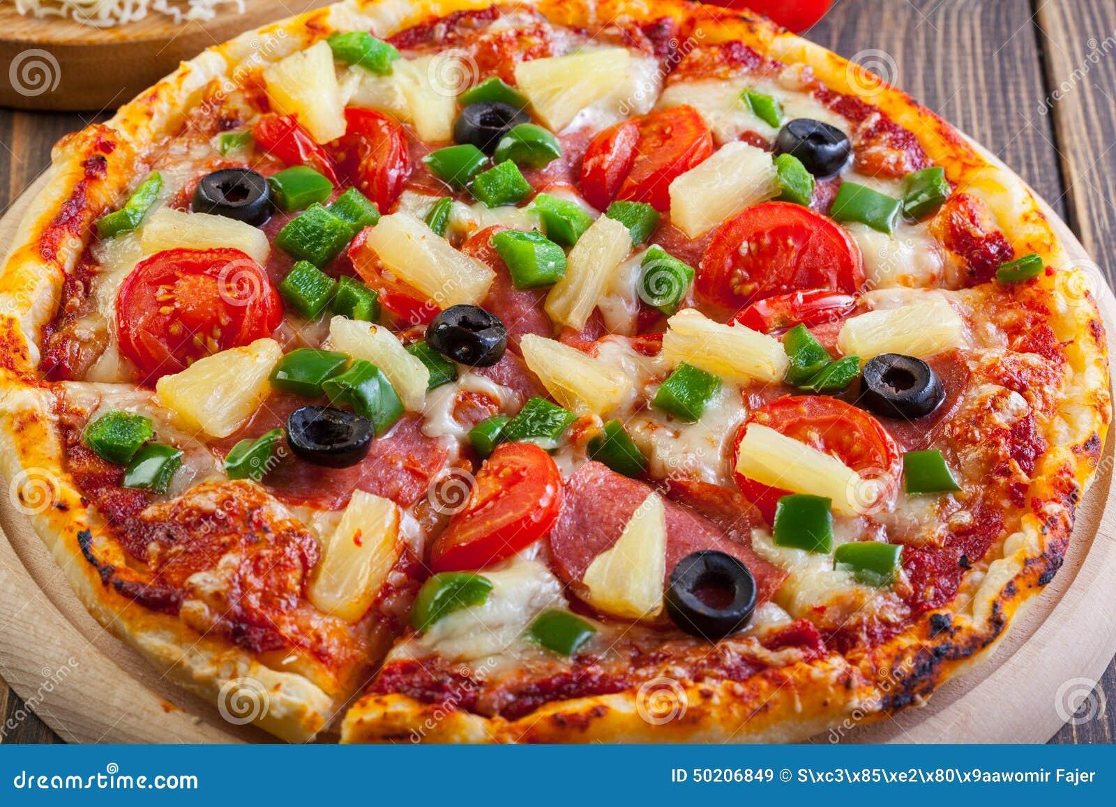 fresh baked pizza hawaii stock image image of cuisine 50206849. Black Bedroom Furniture Sets. Home Design Ideas